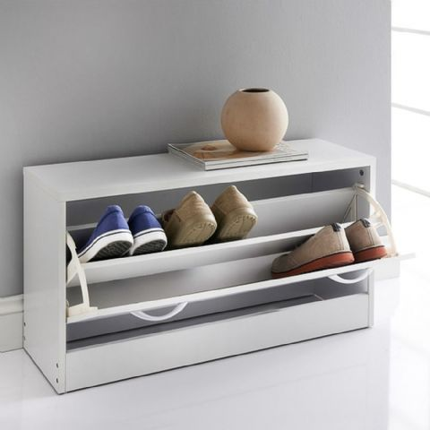 White Shoe Storage Bench Cabinet